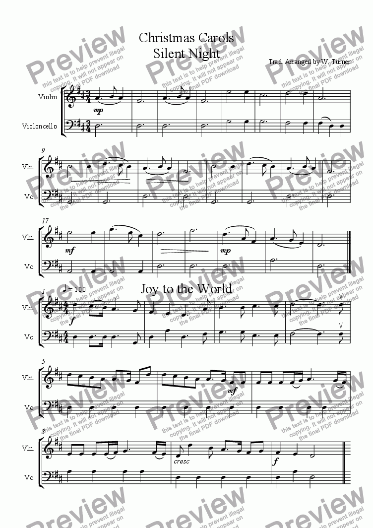 Six Christmas Carols violin/cello duets for Large mixed ensemble by trad  -  Sheet Music PDF file to download