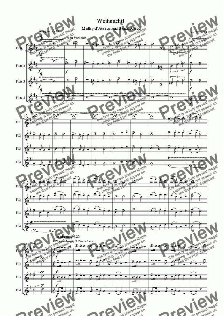 page one of Christmas flutes: Weihnacht: Medley of German/Austrian Carols