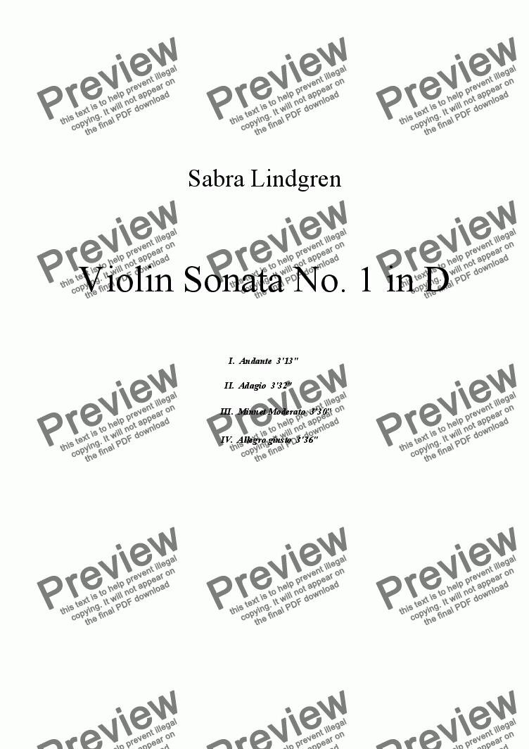 page one of Violin Sonata No.1 in D, III. Minuet Moderato