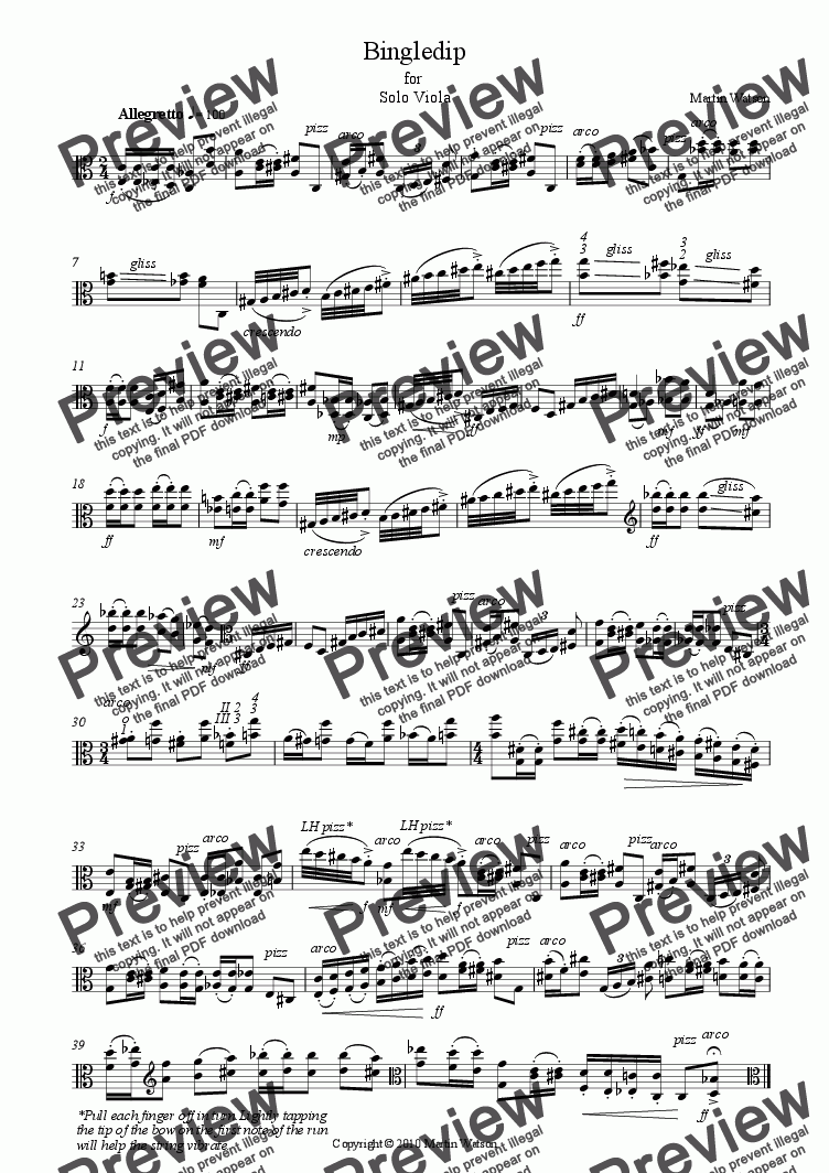 page one of Bingledip for Solo Viola