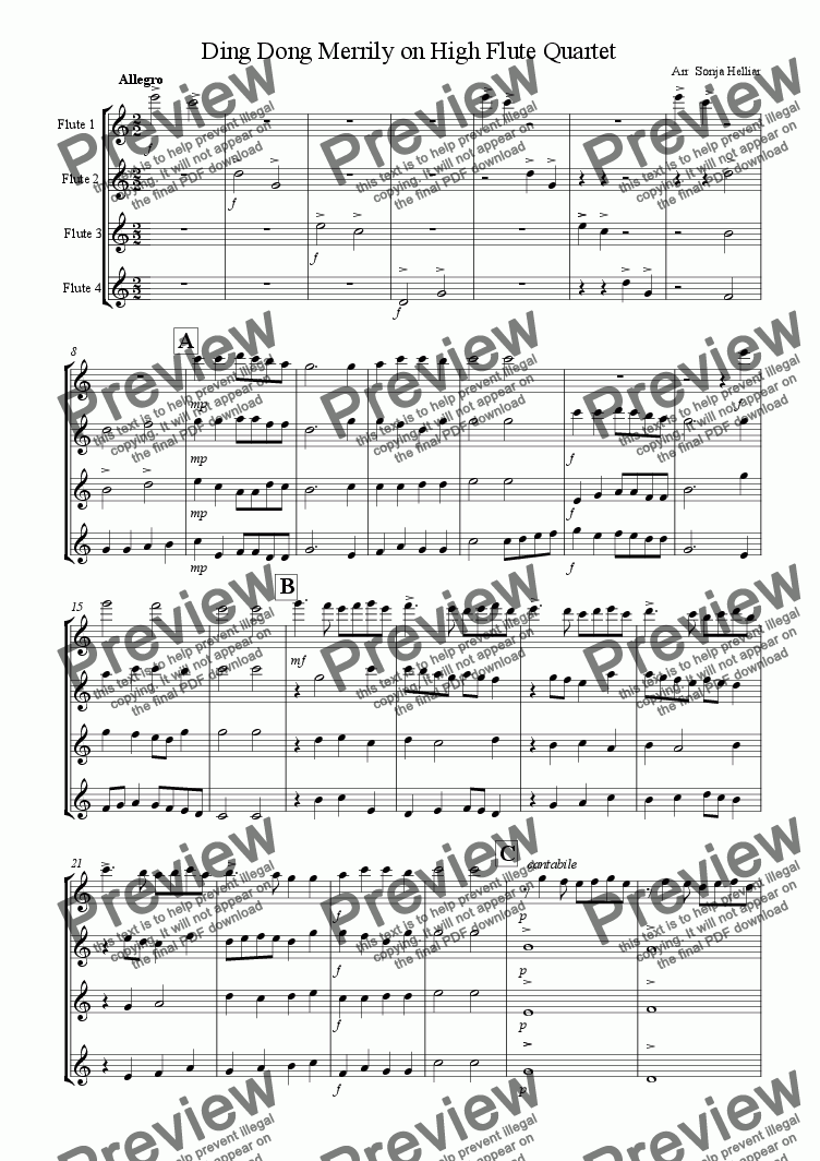 page one of Ding Dong Merrily on High Flute Quartet