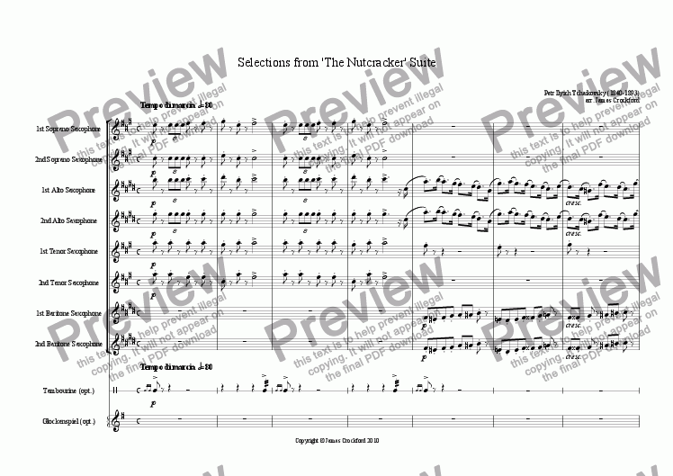 page one of Selections from the 'Nutcracker' Suite for Saxophone Octet