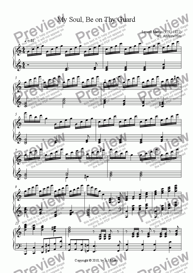 page one of My Soul, Be on Thy Guard - Solo Piano