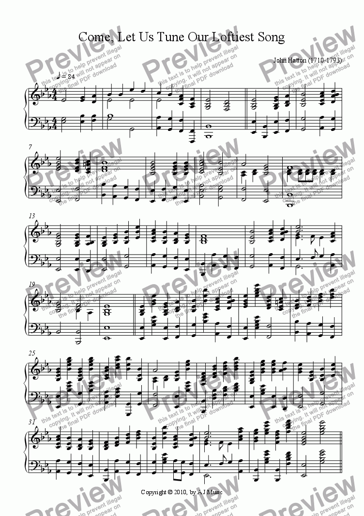 page one of Come, Let Us Tune Our Loftiest Song -Solo Piano