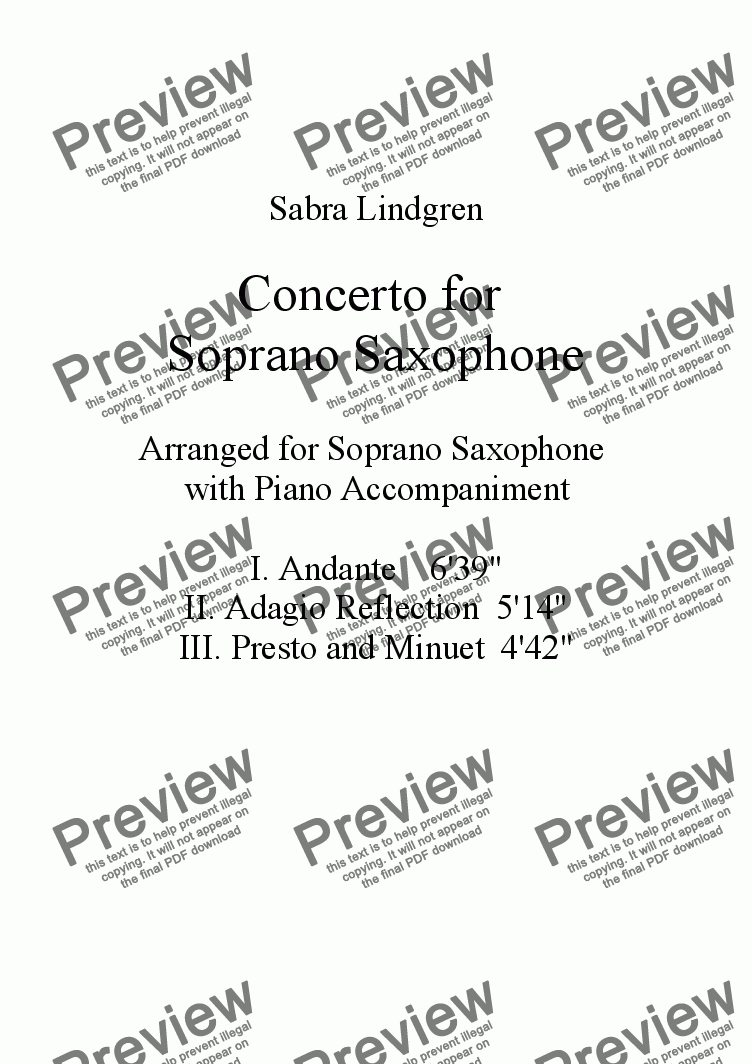 page one of Concerto for Soprano Saxophone, I. Andante, for Solo Soprano Saxophone with Piano Accompaniment