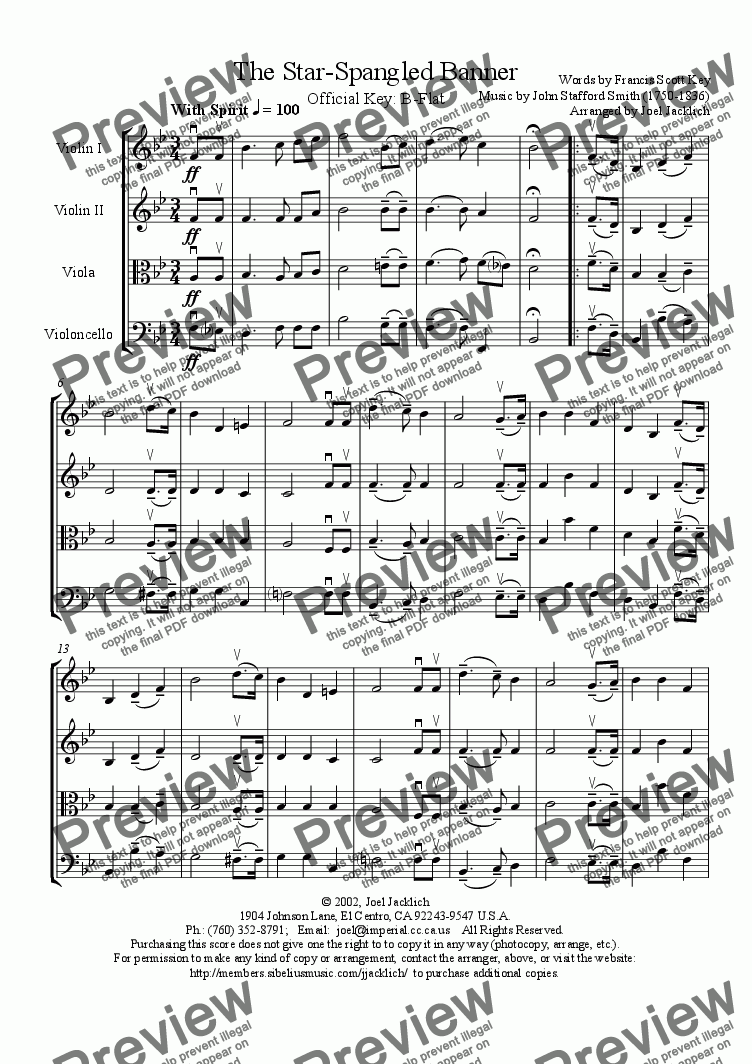 page one of The Star Spangled Banner (Bb) for String Quartet