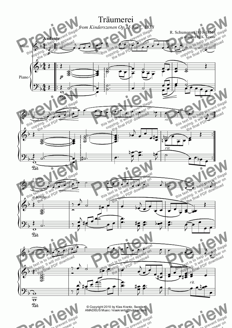 page one of Traumerei / Reverie / Dreaming Op.15 No.7 for viola and piano
