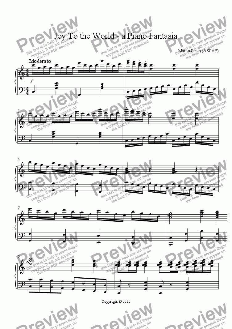 page one of Joy To the World - a Piano Fantasia