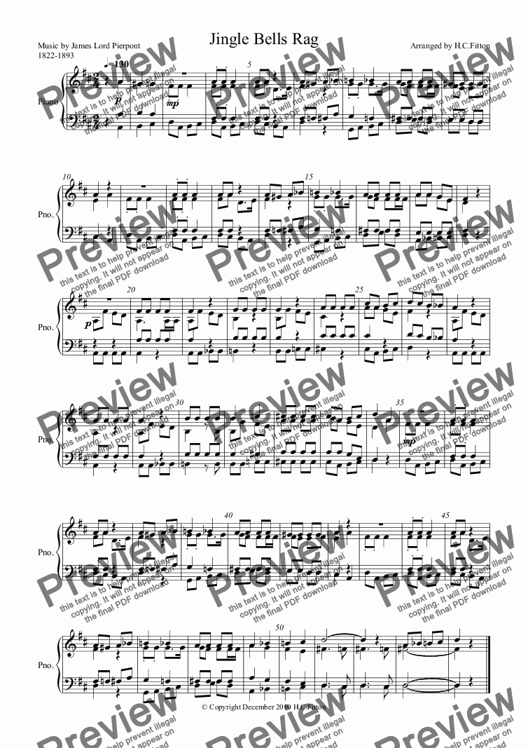 page one of Jingle Bells Rag