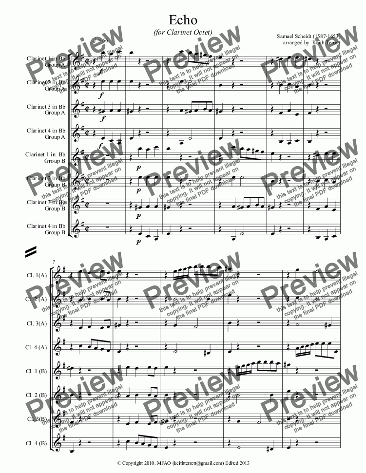 page one of Echo for Clarinet Octet