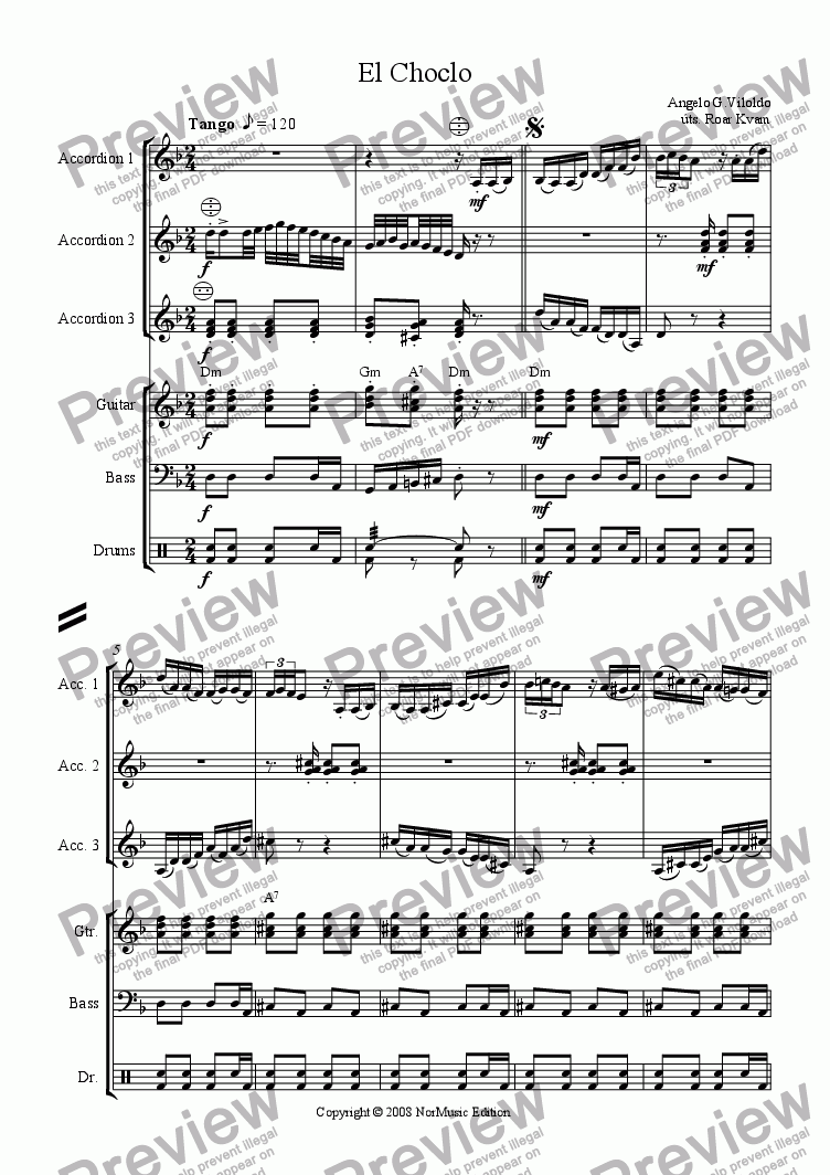 page one of Viloldo: El Choclo (3 Part Accordion Orchestra with Guitar, Bass and Drums)