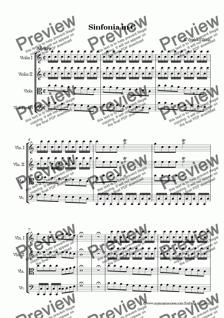 page one of Vivaldi Sinfonia in V RV 111a