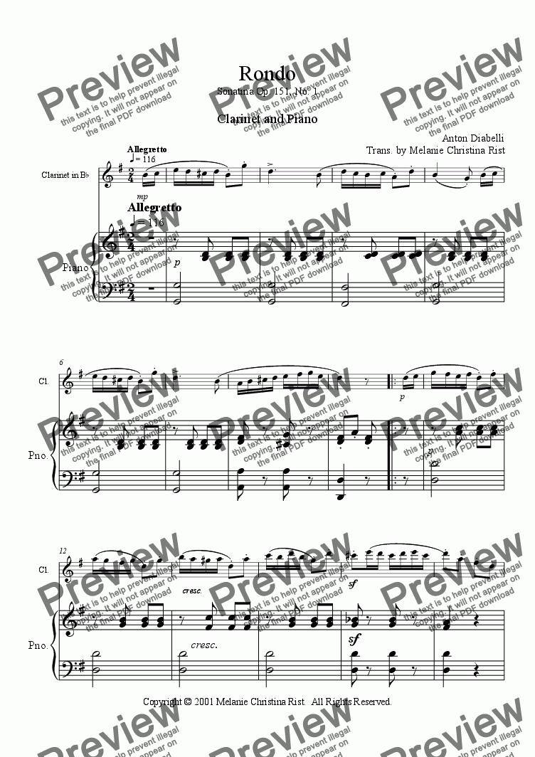 page one of Rondo (clarinet & piano)