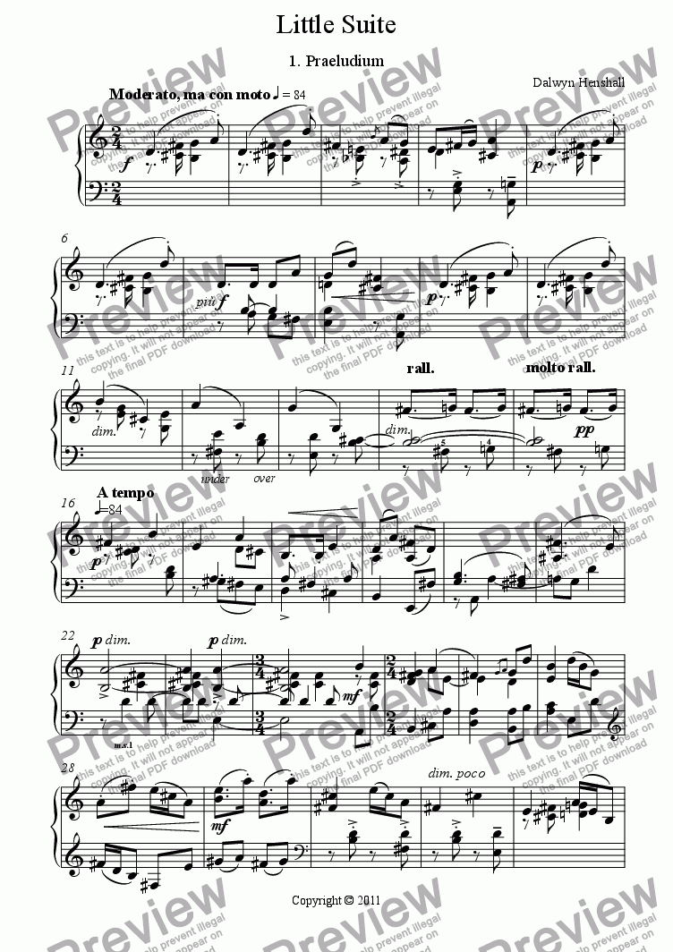 page one of Little Suite for Piano: 1. Praeludium [+mp3]