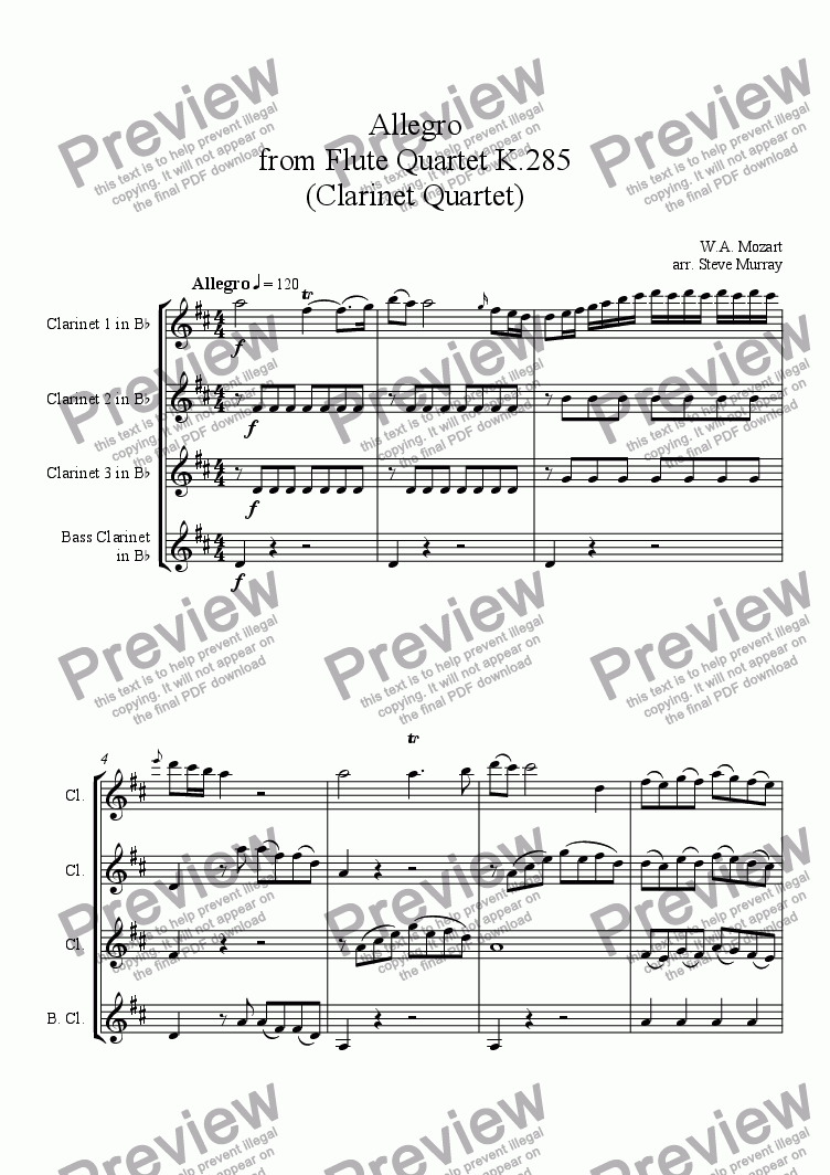 page one of Allegro from Mozart Flute Quartet K.285 (for 4 Clarinets)