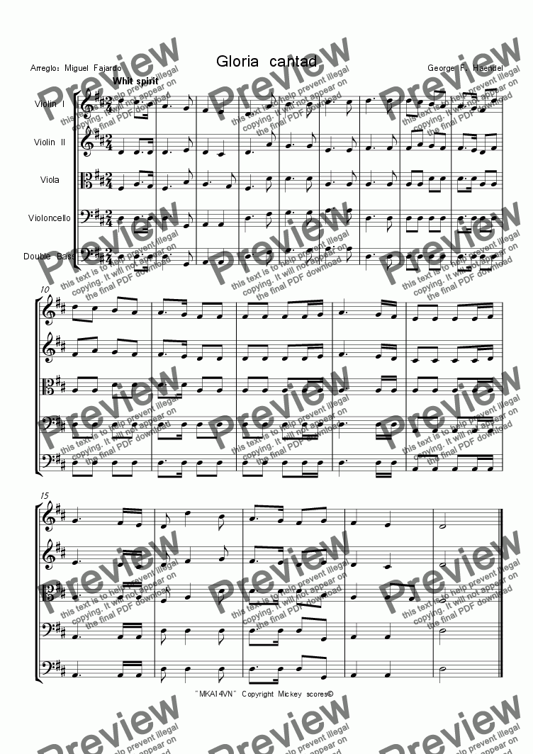 page one of Gloria Cantad G. F. Haendel. for string quintet.