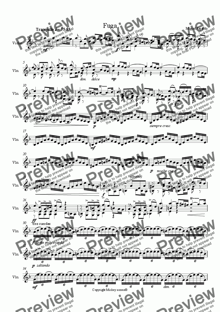 page one of Fugue in a minor(for violin solo)