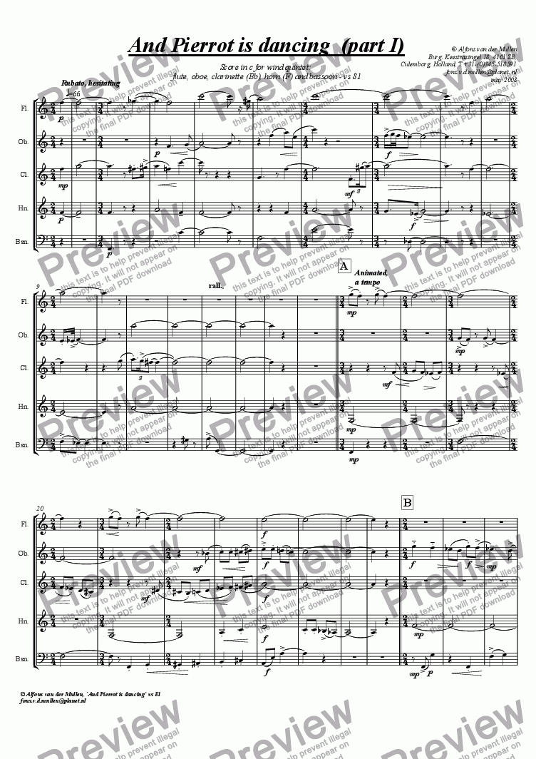 "page one of For wind quintet ""And Pierrot is dancing""."