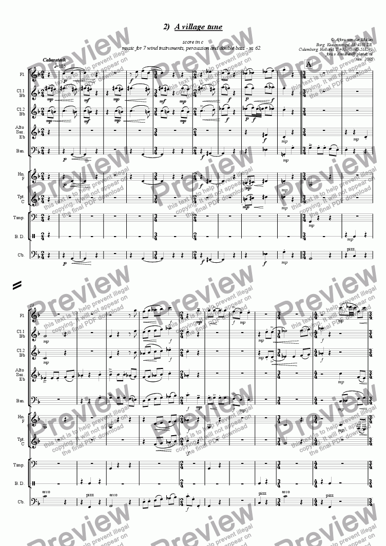 page one of A village tune, music for 9 instruments
