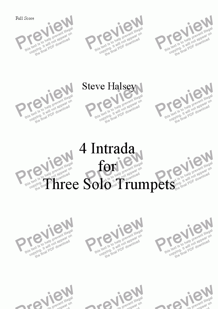 page one of 4 Intrada for 3 Trumpets