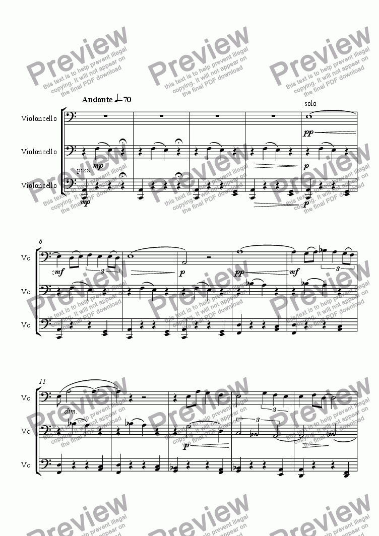 page one of Inverno Concerto for Cello: Andante MaestosoASALTTEXT