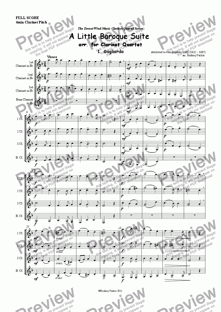 page one of A Lttle Baroque Suite arr. for Clarinet Quartet