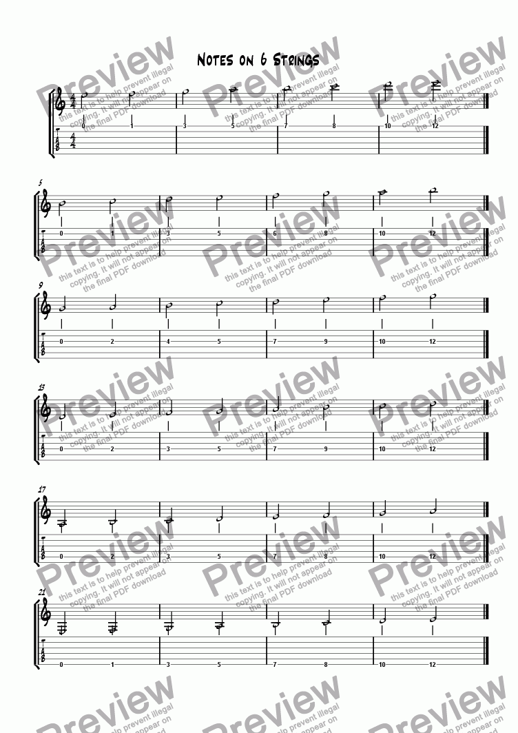 page one of Notes on 6 Strings
