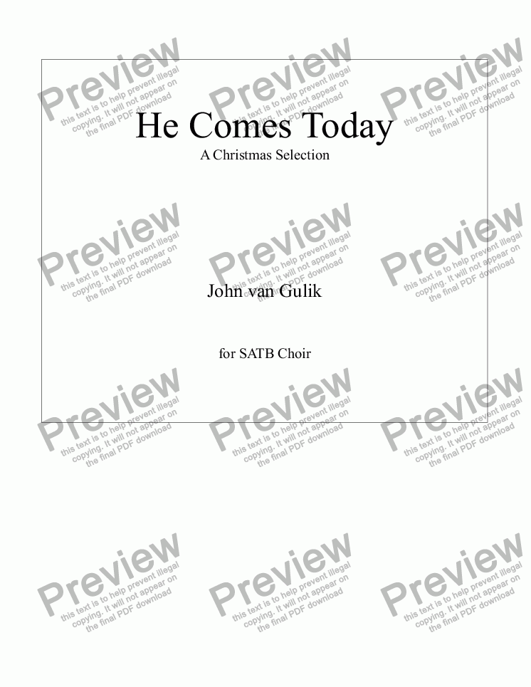 page one of He Comes Today - SATB Choir