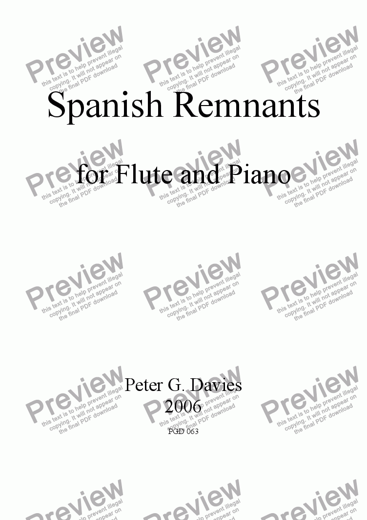 page one of Spanish Remnants for Flute and Piano