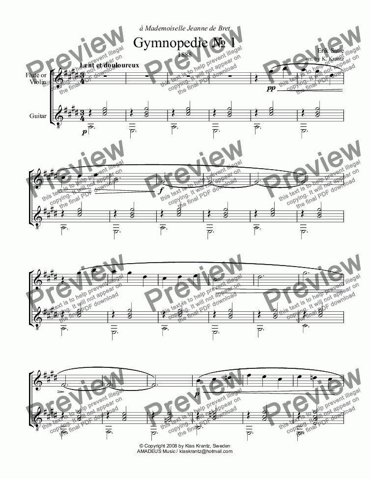 page one of Gymnopedie No. 1 for flute or violin and guitar (E major)