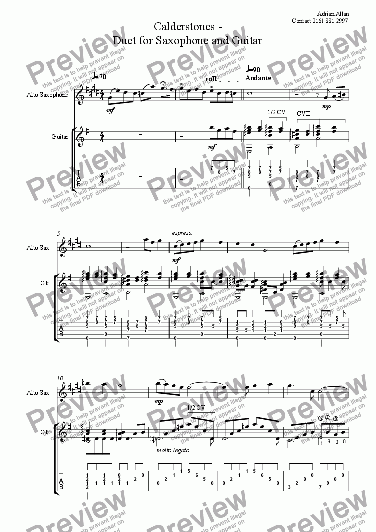 page one of Calderstones - Duet for Alto Saxophone and Guitar
