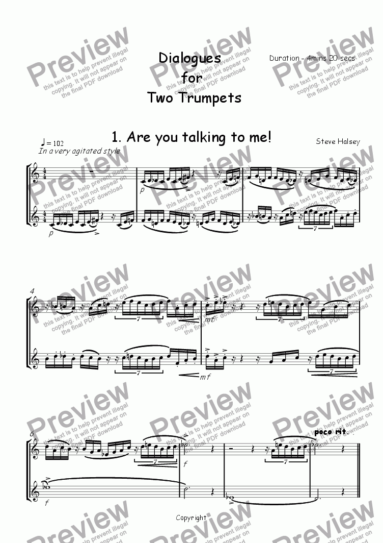 page one of Dialogues for Two Solo TrumpetsASALTTEXT