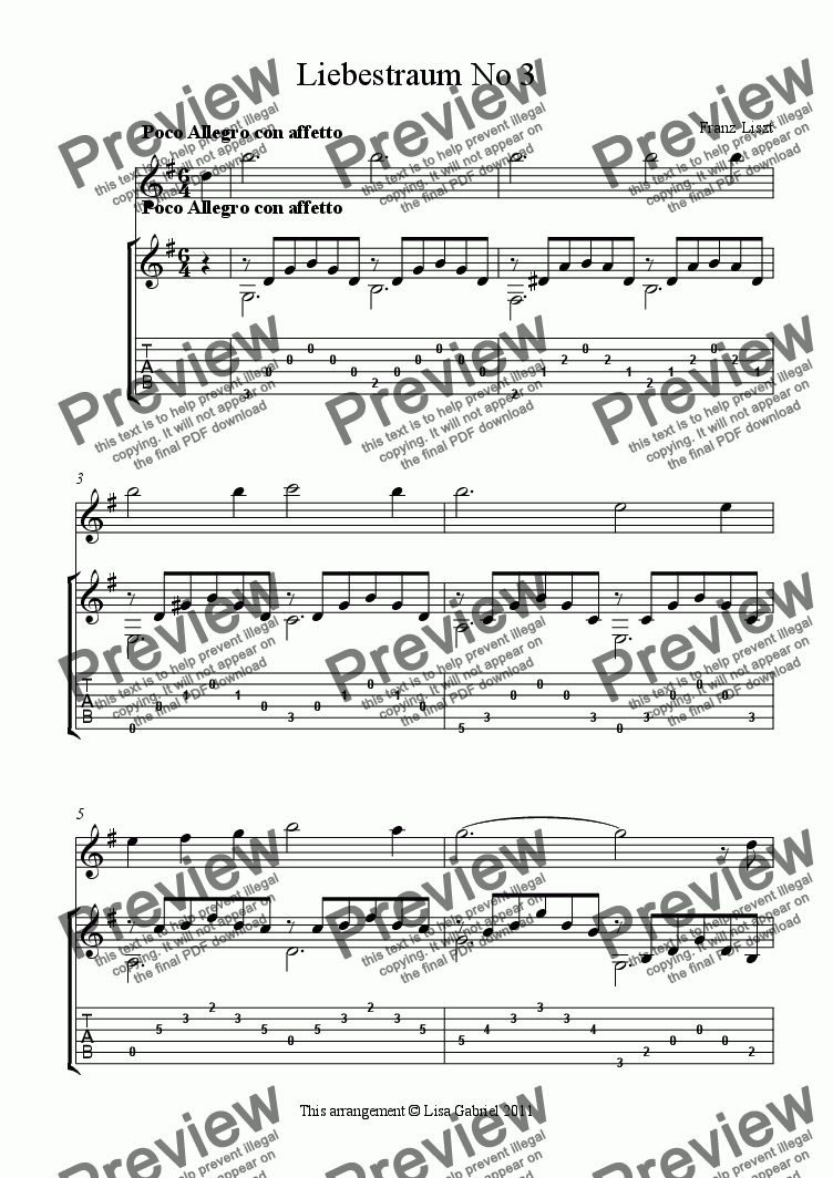 page one of Liebestraum No 3 for Flute and GuitarASALTTEXT