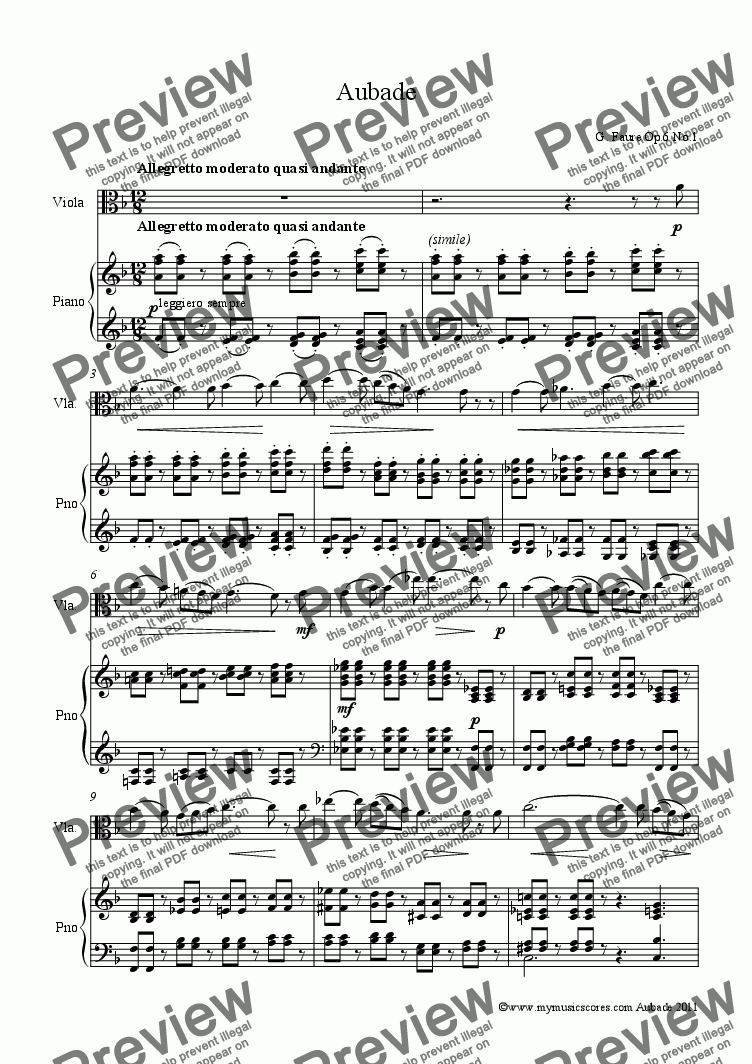 page one of Faure Aubade Op.6 No.1 for Viola and Piano