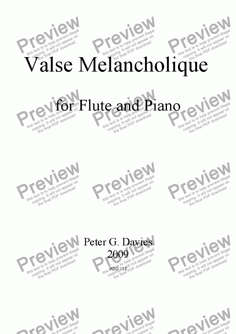 page one of Valse Melancholique for Flute and Piano