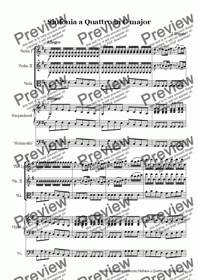 page one of Stamitz Sinfonia a Quattro in G major for String OrchestraASALTTEXT