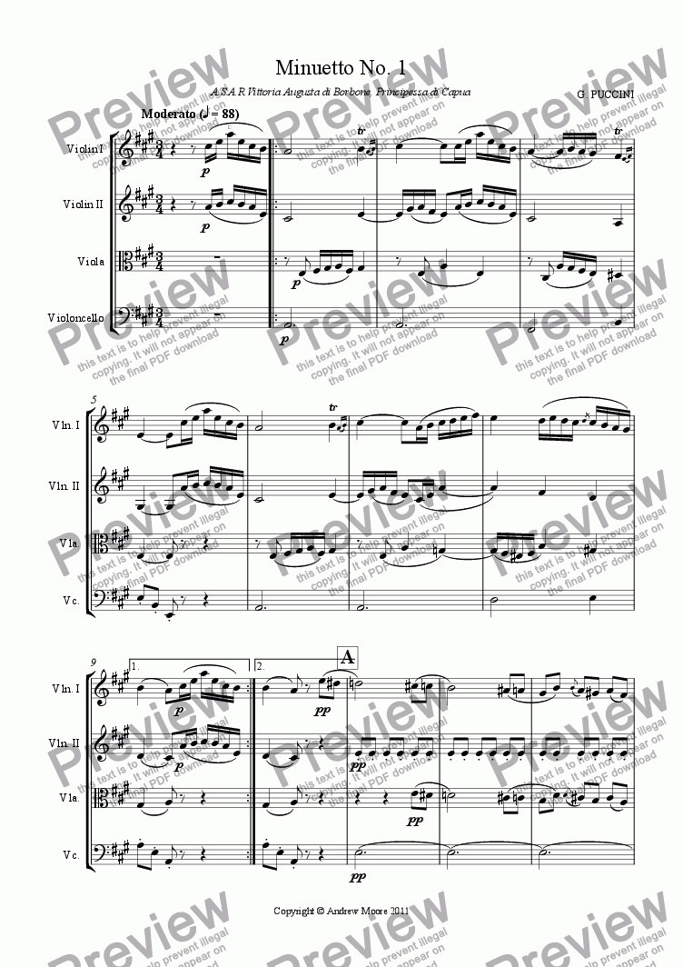 page one of Minuetto No. 1 for String QuartetASALTTEXT