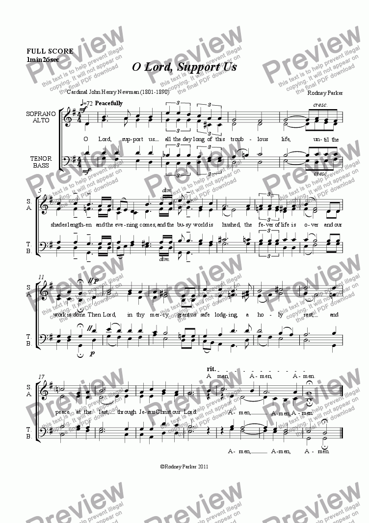 page one of Motet 'O Lord, Support Us' for SATB Choir