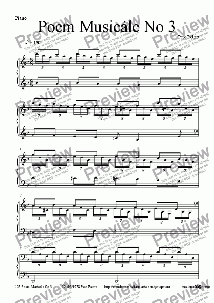 page one of Poem Musicale No 3 [Piano solo]