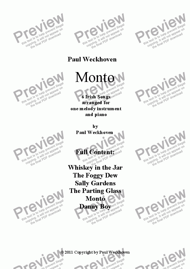 page one of Monto - 6 Irish Folktunes arranged for Flute and Piano