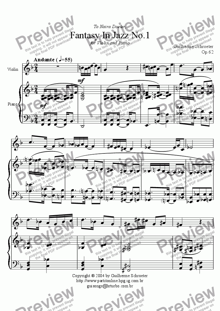 page one of Op.062 - Fantasy in jazz for Violin and Piano No.1 (F Major)