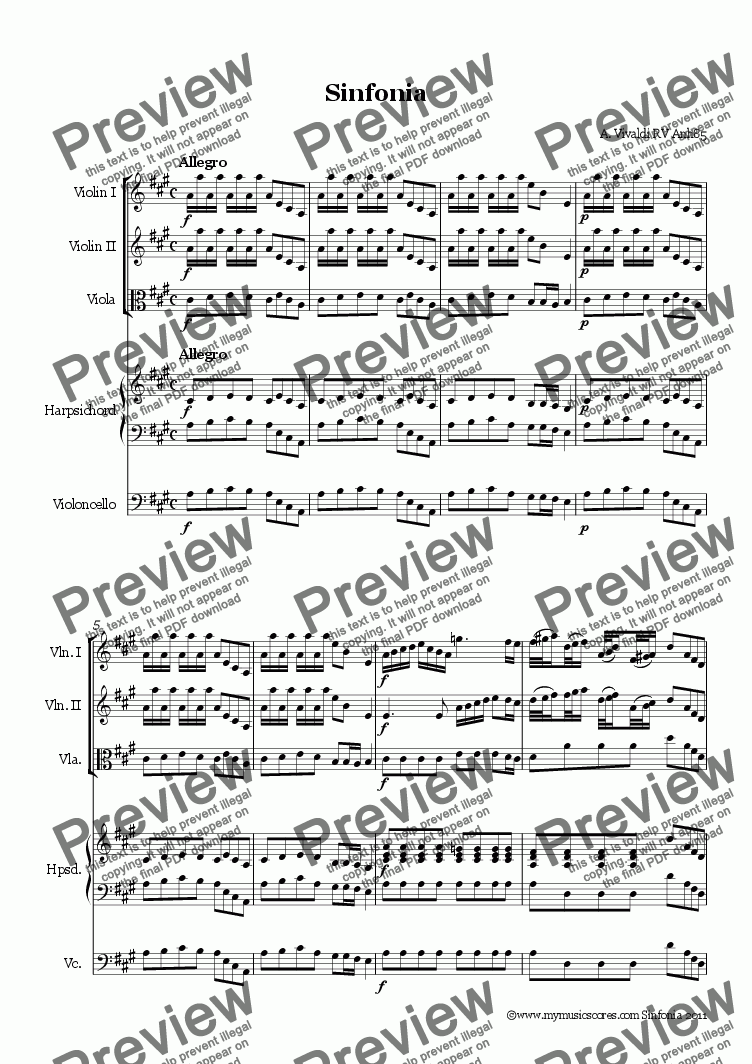 page one of Vivaldi Sinfonia RV Anh85 for String OrchestraASALTTEXT