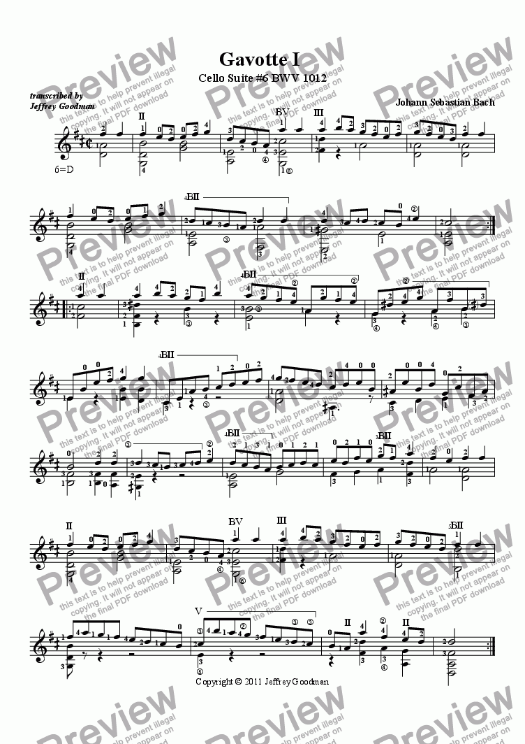 page one of Gavotte I from Cello Suite 6 BWV 1012 - concert version