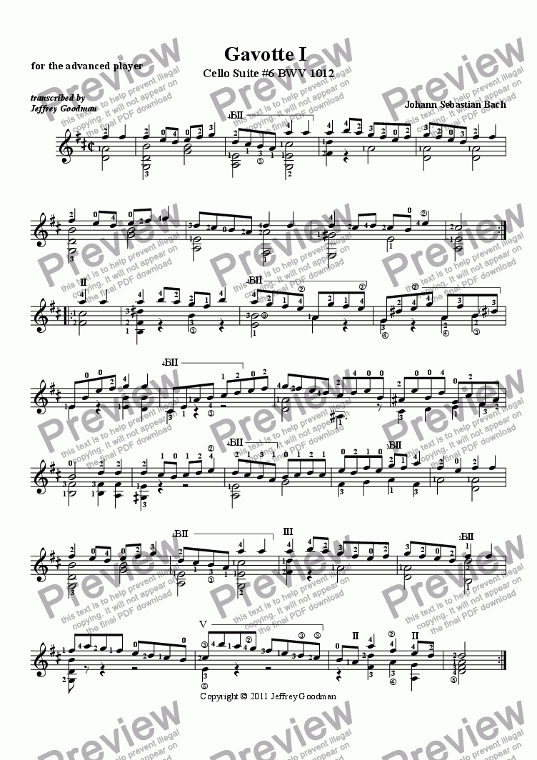 page one of Gavotte I from Cello Suite 6 - for the advanced player
