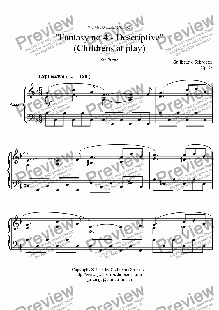 page one of Op.028 - Fantasy for Piano No.4 (F Major)