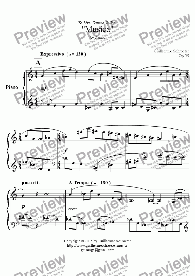 page one of Op.029 - Musica for Piano (C Major)