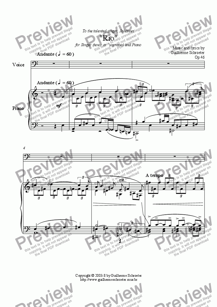 page one of Op.046 - Rio for Singer and Piano (A minor)