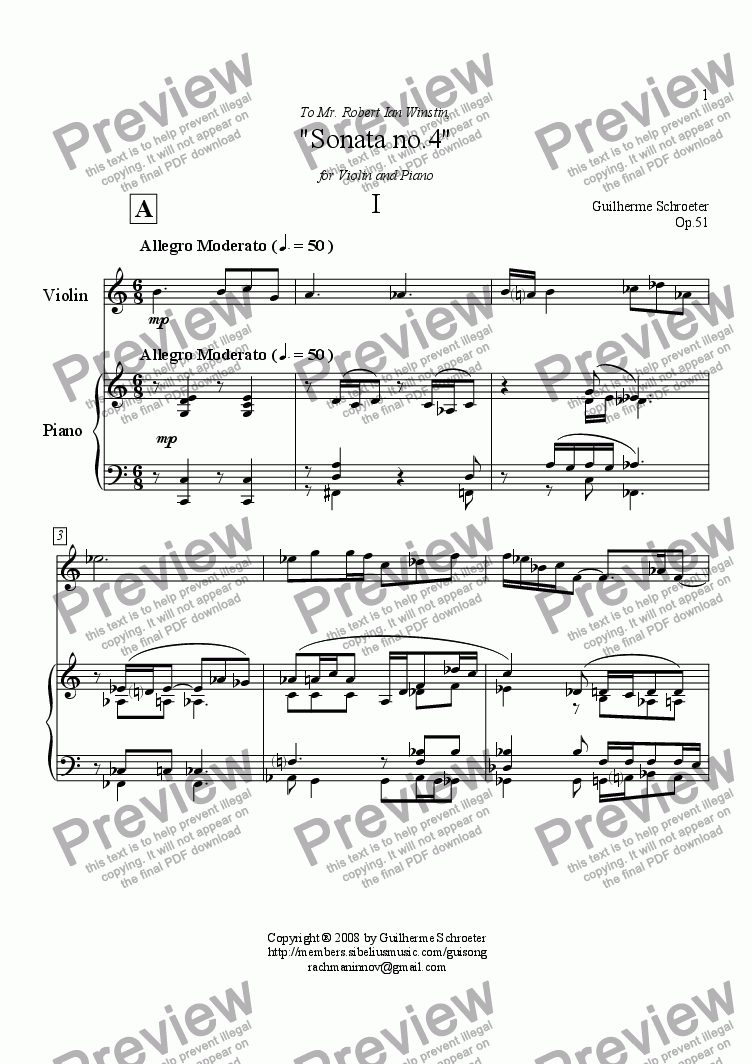 page one of Op.051 - Sonata for Violin and Piano No.4 (C Major)