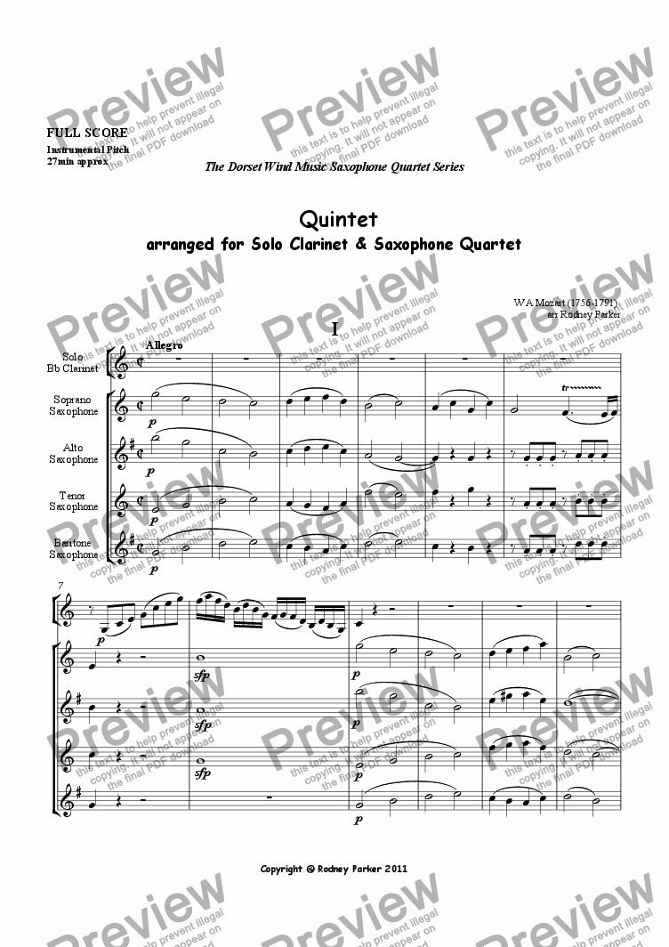 page one of Quintet arr. for Solo Clarinet and Saxophone Quartet