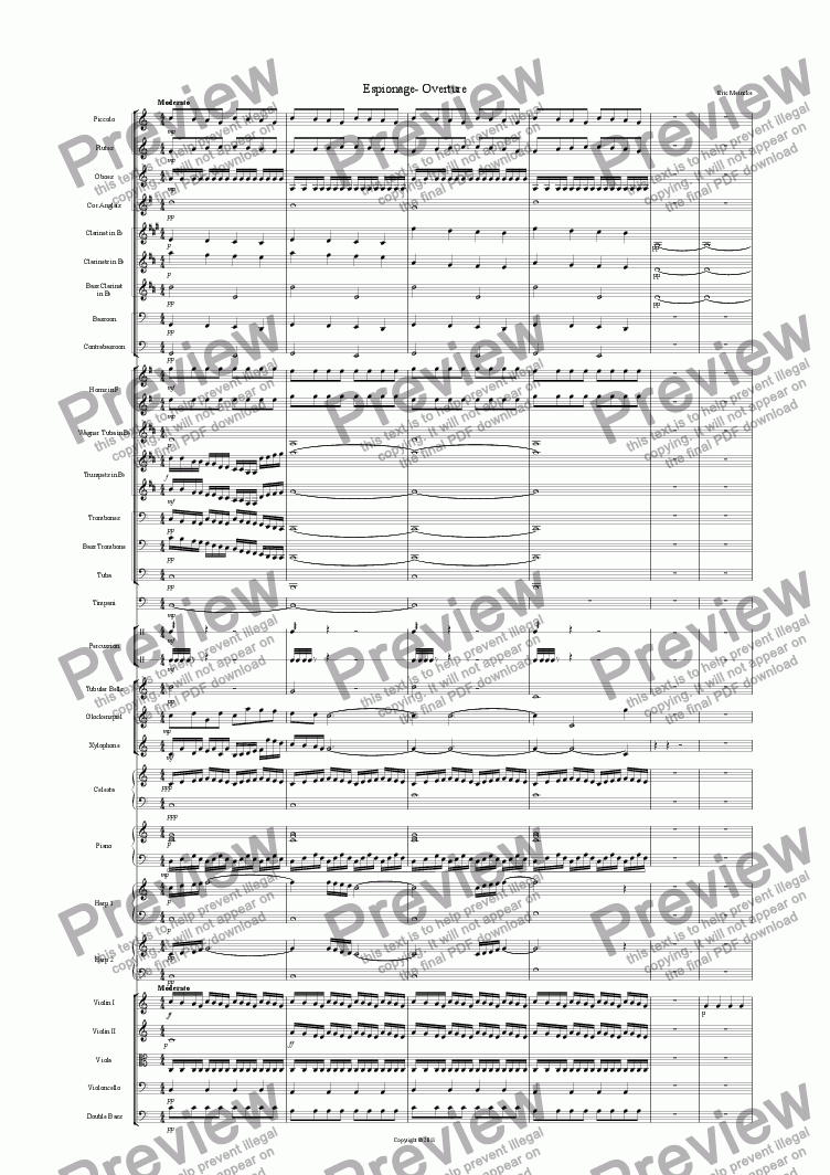 page one of Espionage- Overture